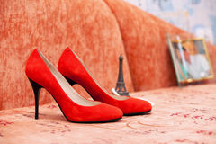 Czerwoni buty panna młoda Obraz Stock