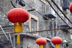 Czerwoni Chińscy lampiony przy Tianzifang, Szanghaj Obrazy Stock