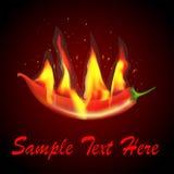 Czerwoni chili płomienie, iskry i ilustracja wektor