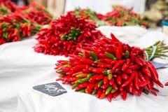 Czerwoni chillies dla sprzedaży przy rynkiem w Provence, Francja Obraz Royalty Free