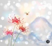 Czerwoni chryzantema kwiaty, dragonfly i błękitne góry na białym rozjarzonym tle, Tradycyjny Japoński atramentu obraz ilustracja wektor