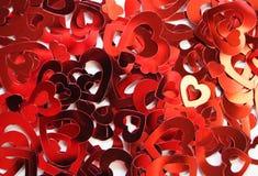 czerwoni confetti serca Fotografia Royalty Free