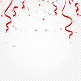 Czerwoni confetti, serpentyna lub faborki spada na białej przejrzystej tło wektoru ilustraci, Przyjęcie, festiwal, fiesta ilustracja wektor