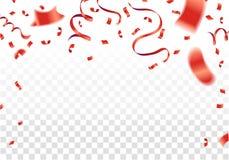 Czerwoni confetti, serpentyna lub faborki spada na biały przejrzystym, ilustracja wektor