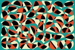 Czerwoni czarni biali przypadkowi półkola na błękitnym tle Abstrakcjonistyczny geometryczny kszta?ta wz?r w retro stylu dla tkani royalty ilustracja