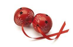 Czerwoni dźwięczenie dzwony z czerwonym faborkiem zdjęcia royalty free