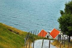 Czerwoni dachy domy na dennym wybrzeżu, Norwegia Wiejski scandinavian krajobraz Obraz Royalty Free