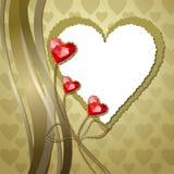 Czerwoni diamentowi serca z złocistymi ornamentami Obraz Royalty Free