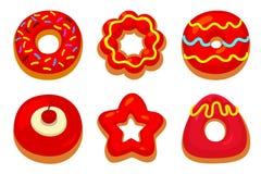Czerwoni donuts ustawiający Zdjęcie Royalty Free