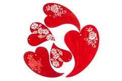 Czerwoni drewniani serca Obrazy Royalty Free