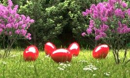 Czerwoni Easter jajka przed lasu 3D ilustracją ilustracji