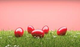 Czerwoni Easter jajka w gazonu 3D ilustracji royalty ilustracja
