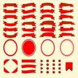 Czerwoni faborki i sieć elementy ustawiający Zdjęcia Stock