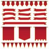 Czerwoni faborki i sztandary Fotografia Stock