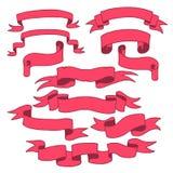 Czerwoni faborki Ustawiający, Zdjęcia Stock