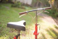 Czerwoni falcowanie bicykle w parku obraz stock