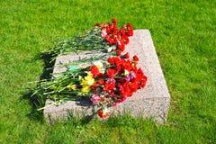 Czerwoni goździki przy pomnika marmurem Fotografia Stock