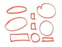 Czerwoni highlighter okręgi na białym tle royalty ilustracja