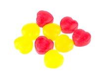 Czerwoni i żółci cukierków serca Zdjęcia Royalty Free