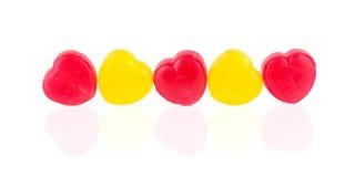 Czerwoni i żółci cukierków serca Zdjęcie Royalty Free