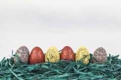 Wielkanocni jajka na zielonej trawie fotografia stock