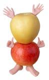 Czerwoni i żółci jabłko charaktery Obraz Royalty Free