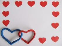 Czerwoni i błękitni serca Zdjęcia Stock