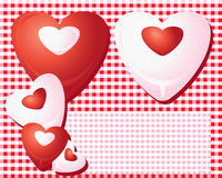 Czerwoni i biały serca Zdjęcie Royalty Free