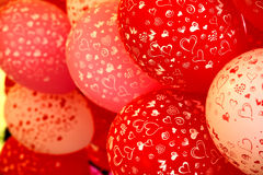 Czerwoni i biali ballons z kierowym drukiem obrazy royalty free