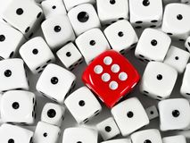 Czerwoni i biali gemowi kostka do gry Fotografia Stock
