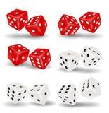 Czerwoni i biali kostka do gry na białym tle royalty ilustracja