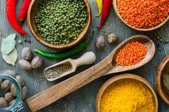 Czerwoni i brown lentlils, moong fasole gotuje składniki Fotografia Stock