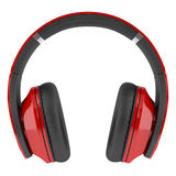 Czerwoni i czarni bezprzewodowi hełmofony odizolowywający na bielu Obrazy Stock