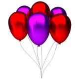 Czerwoni i purpurowi urodzinowi balony Obrazy Stock