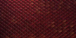 Czerwoni i złociści smoka gada ryby węża skales deseniują backround smok skóra 3d odpłacająca się tło obraz stock