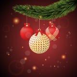 Czerwoni i złociści Boże Narodzenia Fotografia Stock