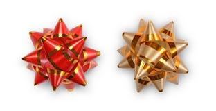Czerwoni i złoci tasiemkowi łęki dla dekoracja prezentów Zdjęcie Royalty Free