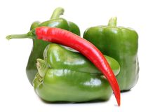 Czerwoni i zieleni pieprze cztery Zdjęcie Stock
