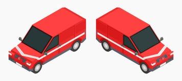Czerwoni isometric samochody dla ładunku transportu zaopatrują wektorowego wizerunek royalty ilustracja