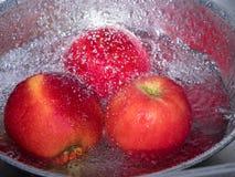 Czerwoni jabłka w stali nierdzewnej rzucają kulą z kroplą woda Zdjęcia Royalty Free