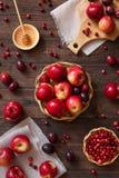 Czerwoni jabłka z śliwkami i cranberries Fotografia Stock