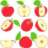 Czerwoni jabłczani plasterki, kolekcja ilustracje Zdjęcie Stock
