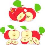 Czerwoni jabłczani plasterki, kolekcja ilustracje Zdjęcia Stock
