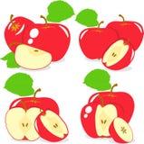 Czerwoni jabłczani plasterki, kolekcja ilustracje Zdjęcia Royalty Free