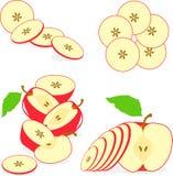 Czerwoni jabłczani plasterki, kolekcja ilustracje Obrazy Royalty Free