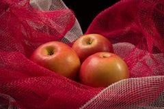 Czerwoni jabłka na czerwonym tle Zdjęcie Stock