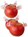 Czerwoni jabłko charaktery Fotografia Royalty Free