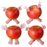 Czerwoni jabłko charaktery Obrazy Royalty Free