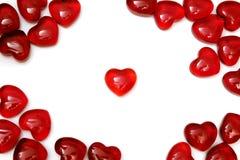 czerwoni jaskrawy serca Zdjęcie Royalty Free