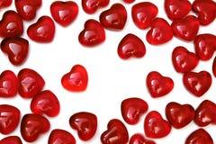 czerwoni jaskrawy serca Obraz Stock